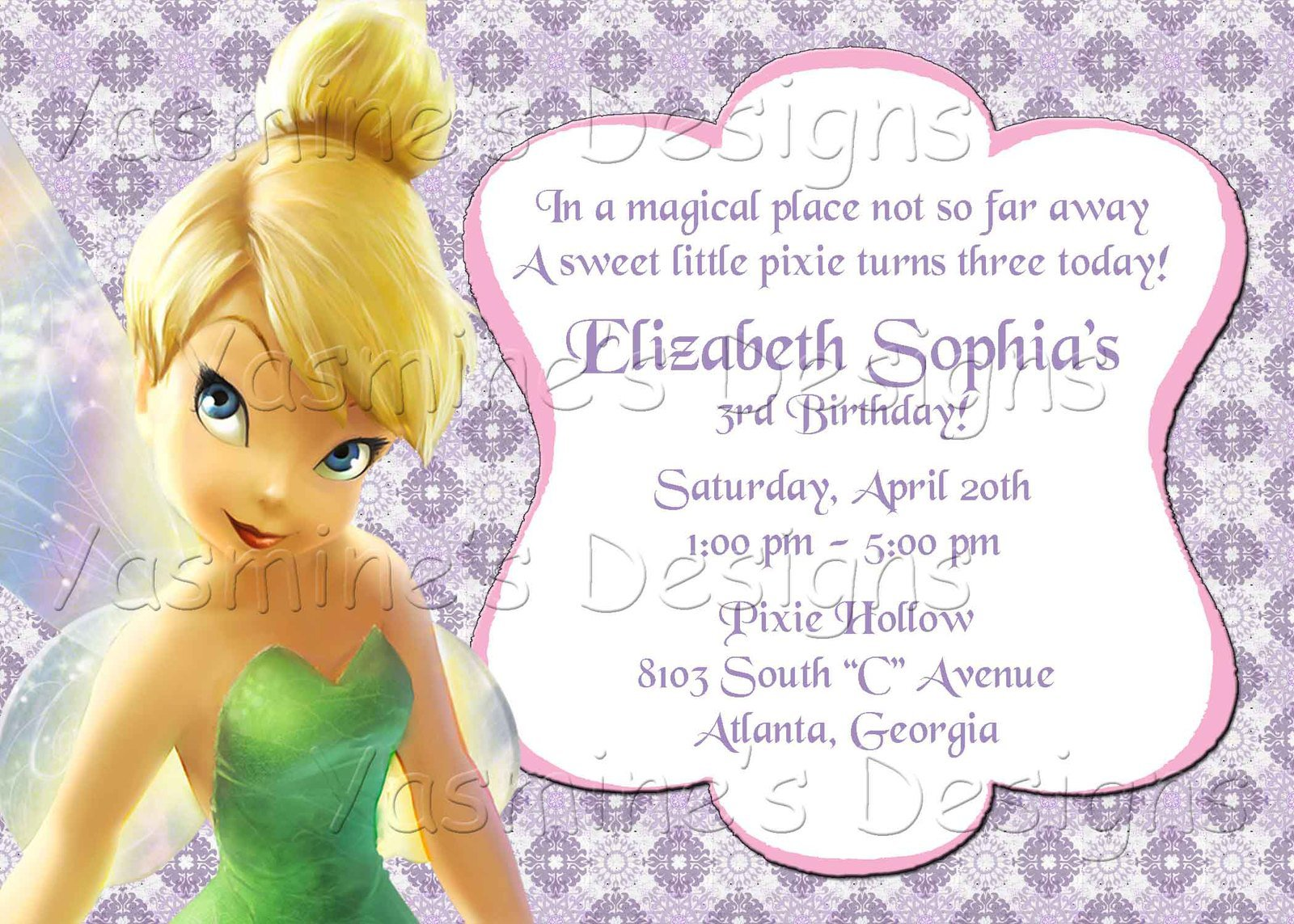 Tinkerbell Birthday Invitations Printable Designs