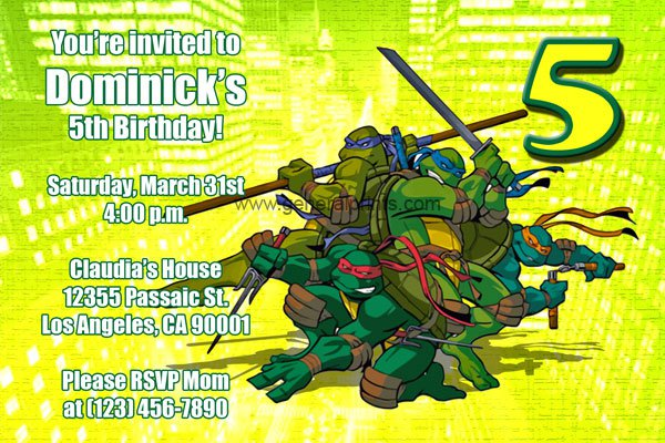 Tmnt Birthday Invitations Printable