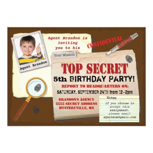 Top Secret Birthday Party Invitations