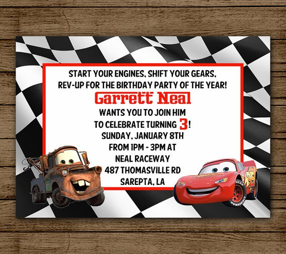 Tow Mater Birthday Invitation Ideas