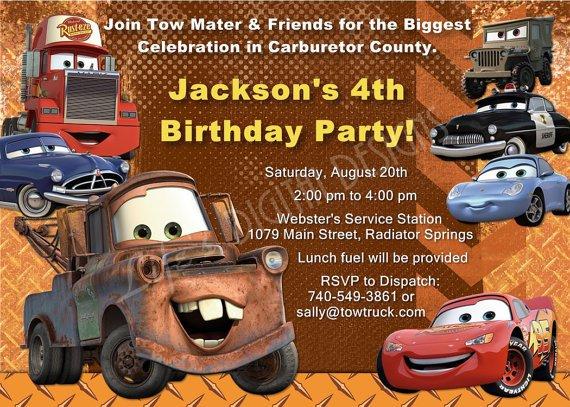 Tow Mater Birthday Party Invitations