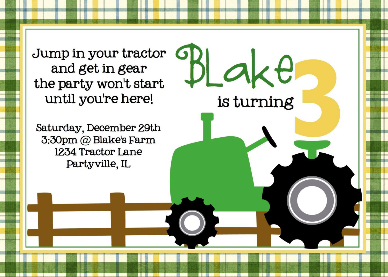 Tractor Party Invitations