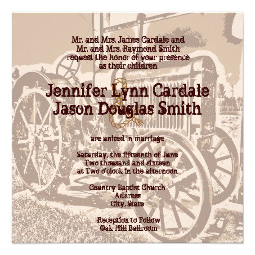 Tractor Wedding Invitations