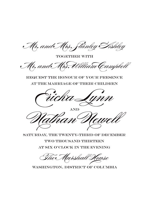 Traditional Wedding Invitation Wording Both Parents