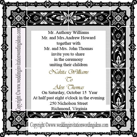 Traditional Wedding Invitation Wording From Bride And Groom