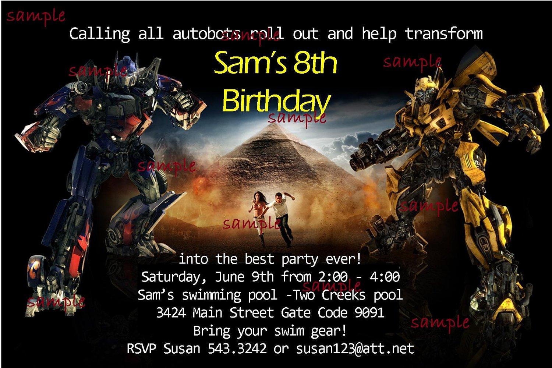 Transformer Party Invitation Templates