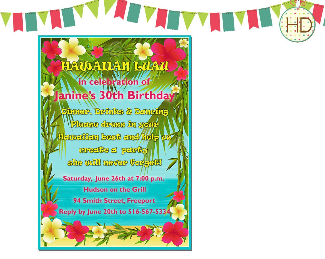 Tropical Luau Party Invitations