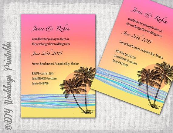 Tropical Wedding Invitations Templates