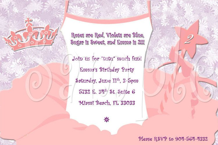 Tutu party invitations tutu party invitation wording 750 x 500 filmwisefo Image collections