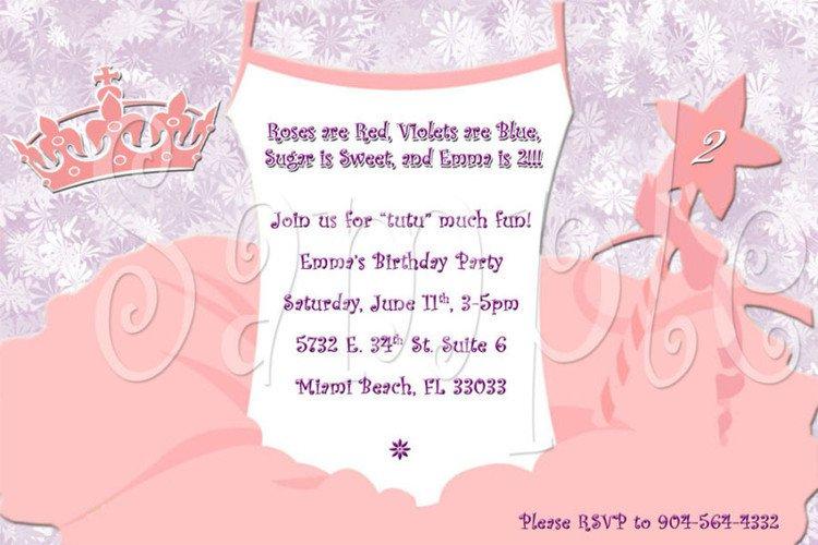 Tutu Party Invitation Wording