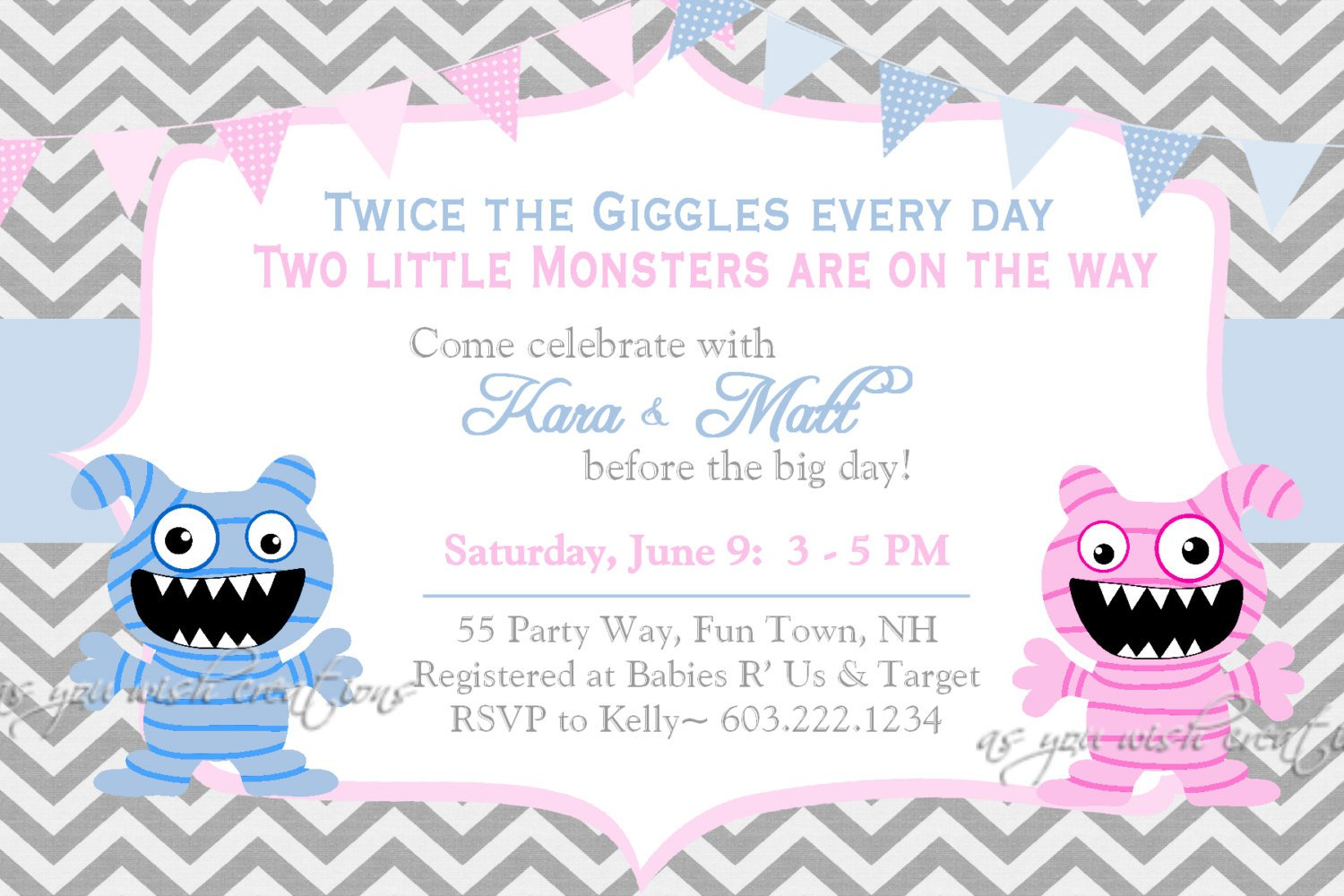 Twin Baby Shower Invitations Free