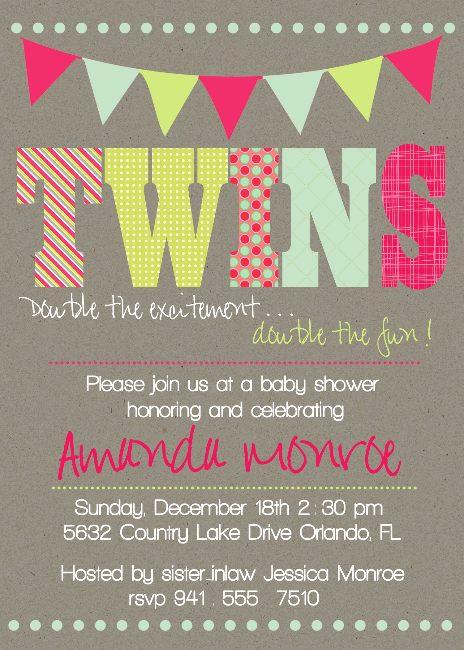Twin Baby Shower Invitations Wording