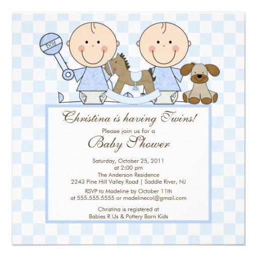 Twin Boy Baby Shower Invitations Free