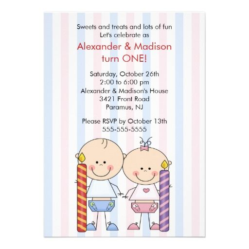 Twin Boy Girl 1st Birthday Invitations
