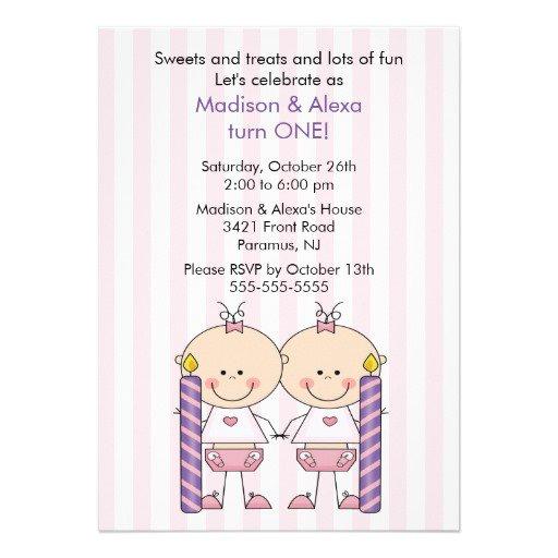 Twin Boy Girl Birthday Invitations