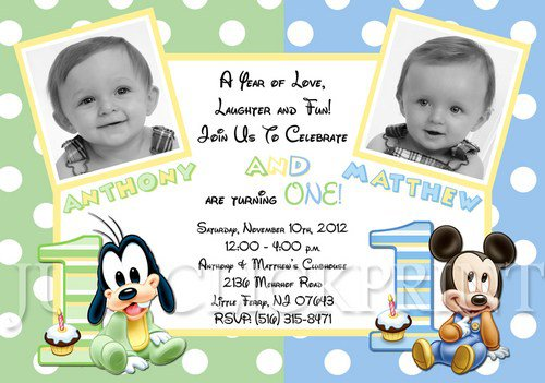 Twin Girl 1st Birthday Invitations