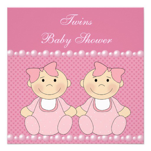 Twin Girls Baby Shower Invitations With Pearls