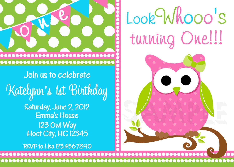 Twin Owl 1st Birthday Invitations