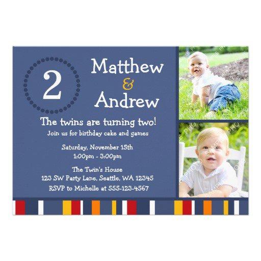 Twin Toddler Birthday Invitations
