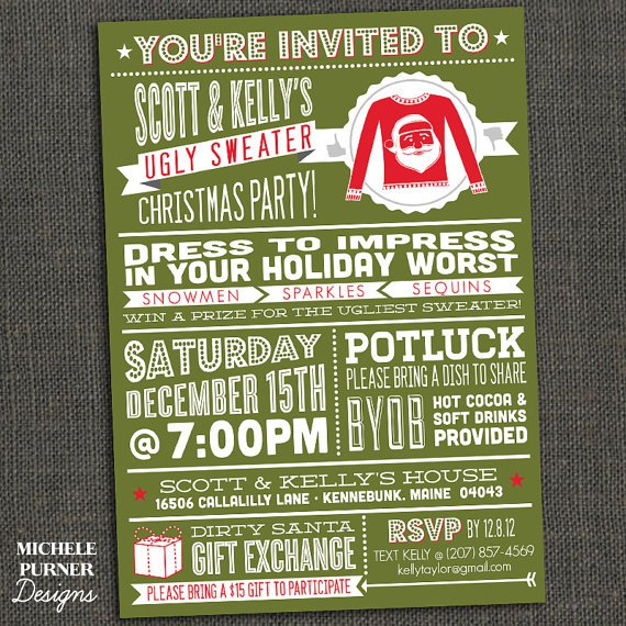 Ugly Sweater Invitation Wording