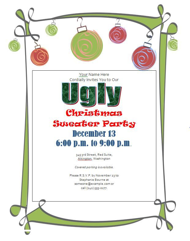 Ugly Sweater Party Invitations Free