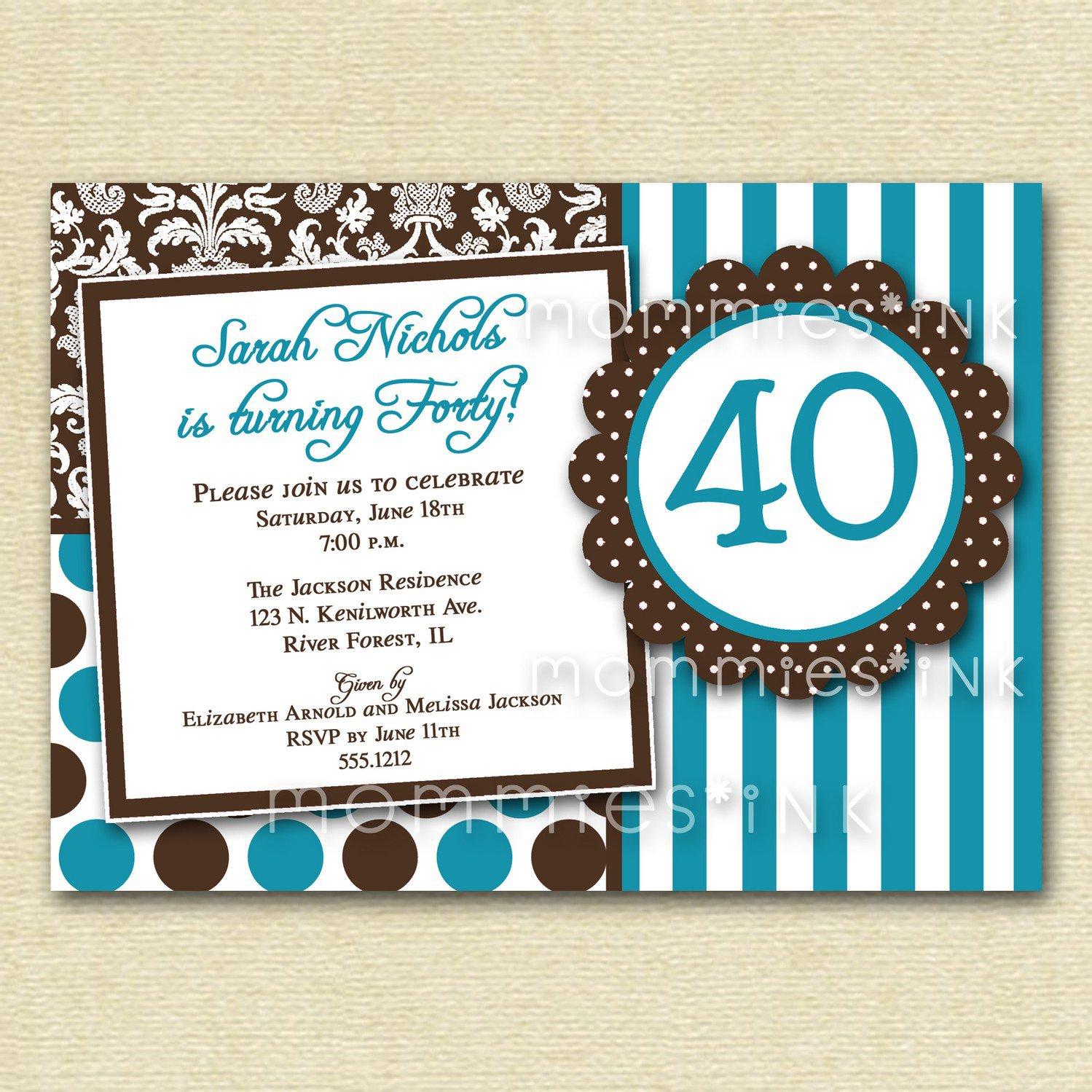 Unique 40th Birthday Invitations
