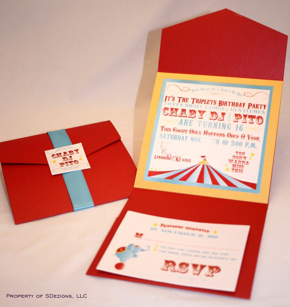 Unique Circus Birthday Invitations