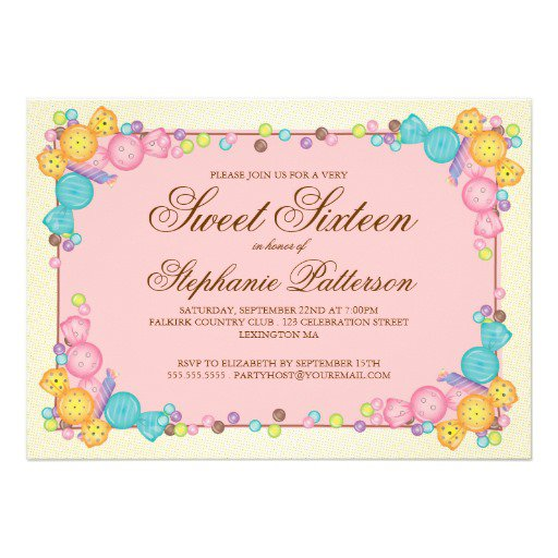Unique Yellow Sweet Sixteen Invitations