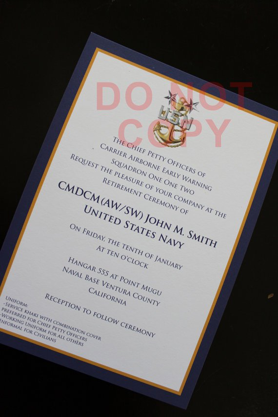 Us Army Promotion Ceremony Invitation