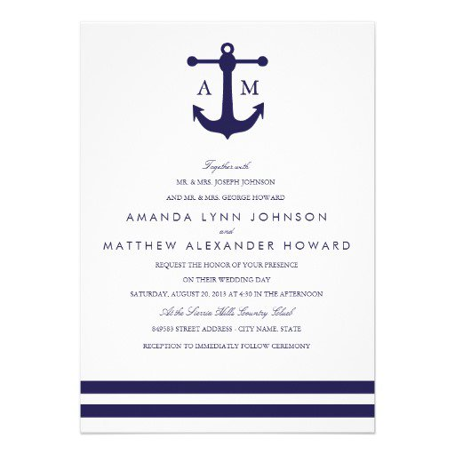 Us Navy Wedding Invitations