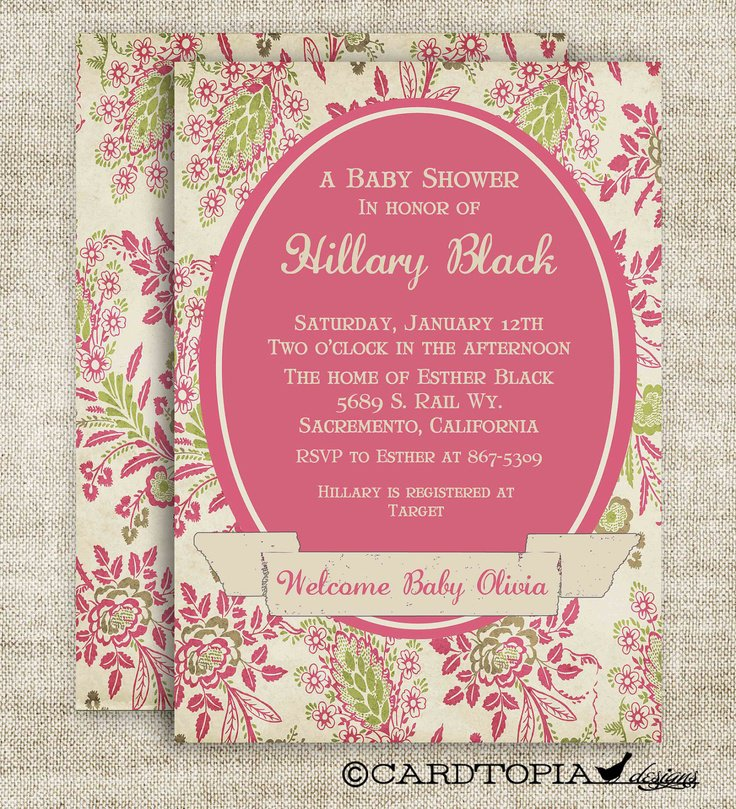 Victorian Themed Baby Shower Invitations