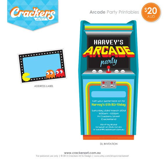 Video Arcade Birthday Party Invitations