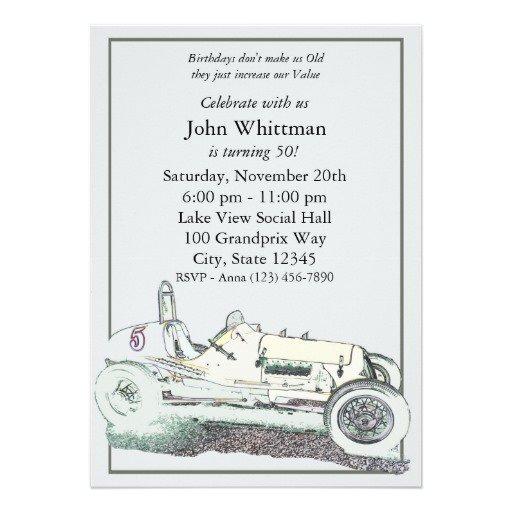 Vintage Car Birthday Invitations 70th