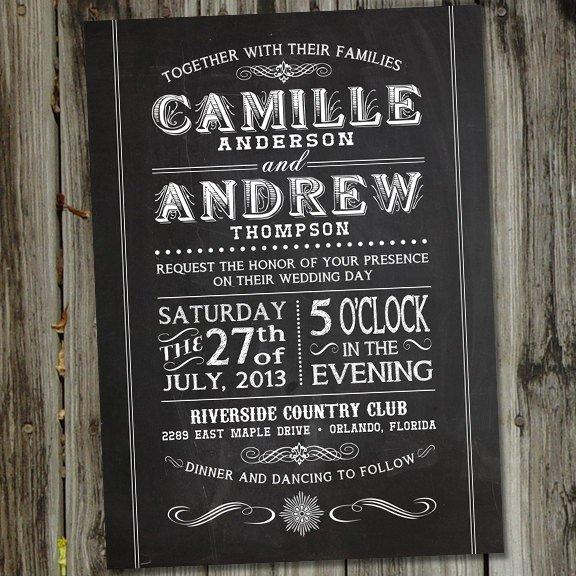 Vintage Chalkboard Wedding Invitations