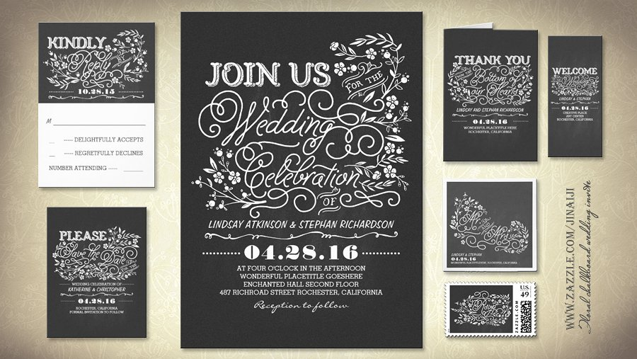 Vintage Chalkboard Wedding Shower Invitations