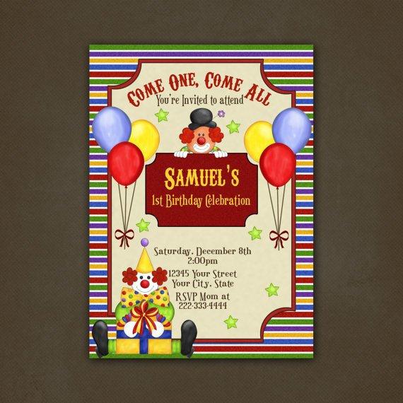 Vintage Circus Birthday Party Invitations