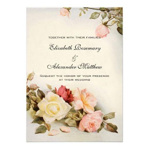 Vintage Flower Wedding Invitations