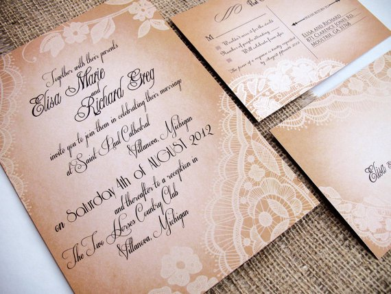 Vintage Ivory Lace Wedding Invitations