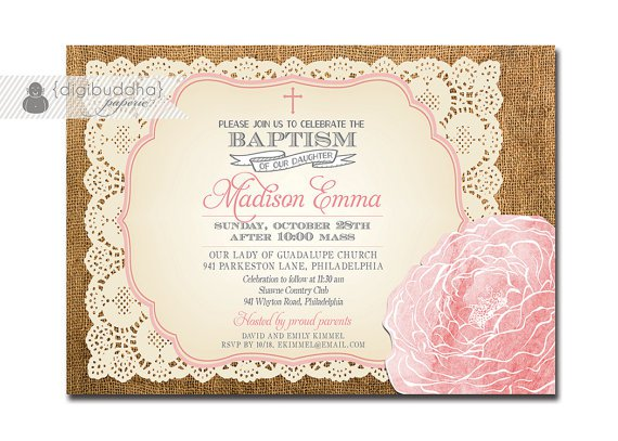 Vintage Lace Baptism Invitations