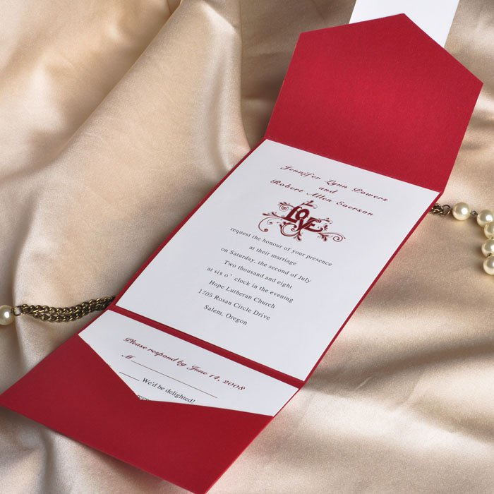 Vintage Pocket Wedding Invitations Uk