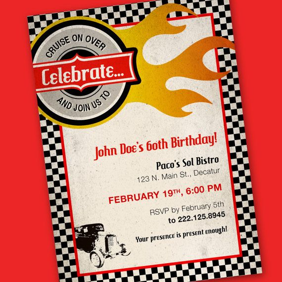 Vintage Race Car Birthday Invitations