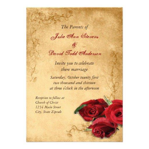 Vintage Red Rose Wedding Invitations