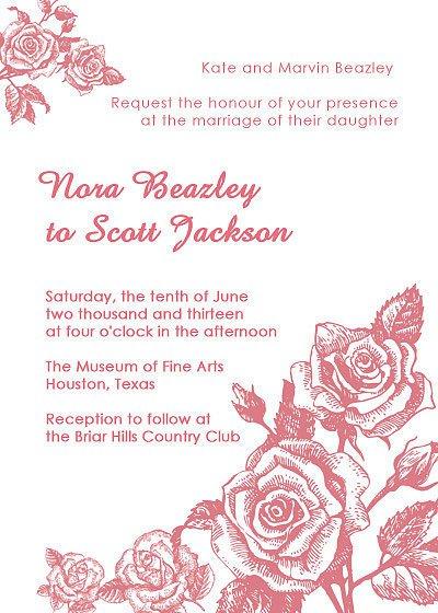 Vintage Rose Wedding Invitations