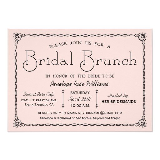 Vintage Style Bridal Brunch Invitations