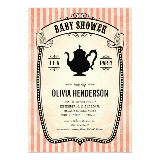 Vintage Tea Party Baby Shower Invitations
