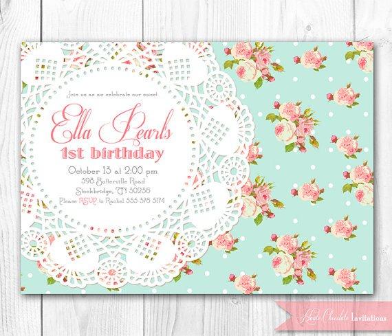 Vintage Tea Party Birthday Invitations Templates