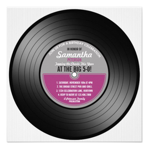 Vinyl Record Birthday Invitations