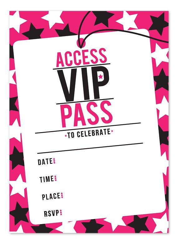 Vip Pass Invitation Printable Free