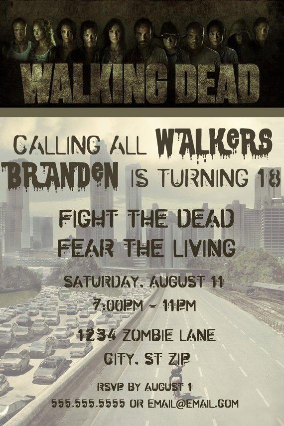Walking Dead Birthday Invitations