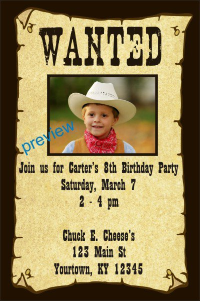 Wanted Poster Invitations Templates